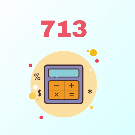 An image of a calculator and a credit score of 713