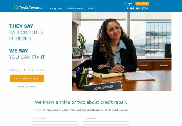 Image of the home page of the Creditrepair.com website