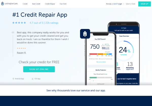 Image of the Lexington Law website showing an iphone using their credit repair app