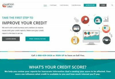 Ovation website screenshot with a white background that states take the first step to improve your credit
