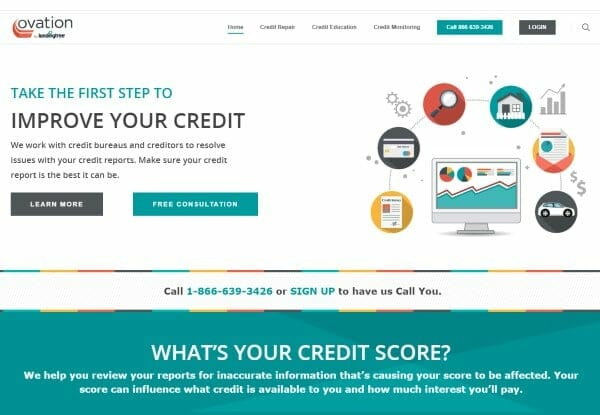 Image of the Ovation Credit Repair website promoting the first steps to improving your credit