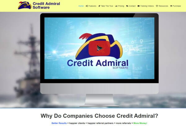 Image of a computer screen with the Credit Admiral Software on it