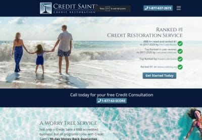 Image if the Credit Saint website showing a family happy on the beach because they have repaired their credit
