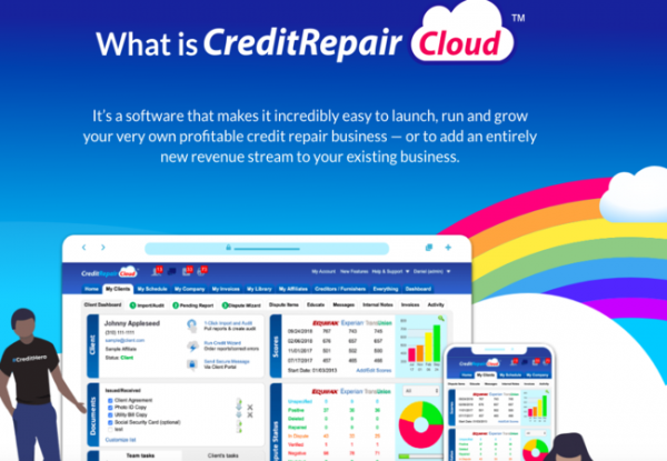 Image of the Credit Repair Cloud website stating that it is a software that makes it easy to run grow and launch a profitable credit repair business