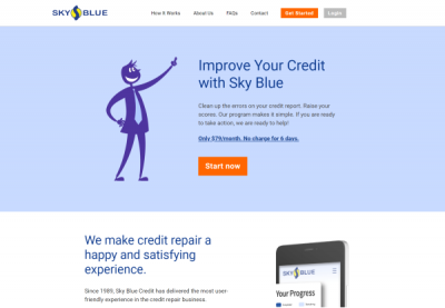 Image of one of the best credit repair companies, Sky Blue website, showing a light blue background, their logo and a silhouette of a businessman