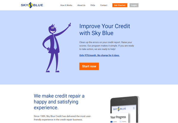 Image of Sky Blue Credit where they are depicted as the #1 credit repair company in NJ and a silhouette of a businessman