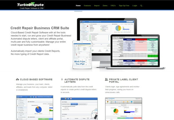 Screenshot of the Turbo Dispute website with a graphic of their Credit Repair Business CRM Suite