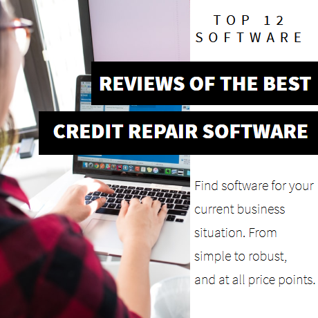 Image of a woman working on the computer with credit repair software