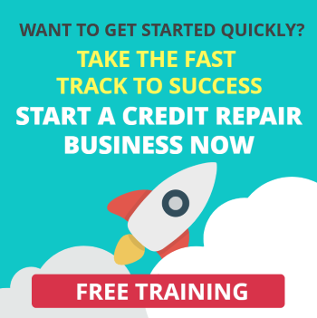 Image of an offer to watch a free training video about staring a credit repair business quickly