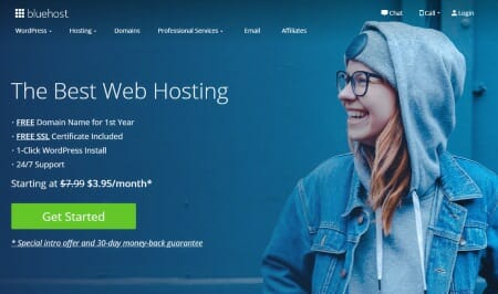 Image of the bluehost website, a good host company for credit repair websites