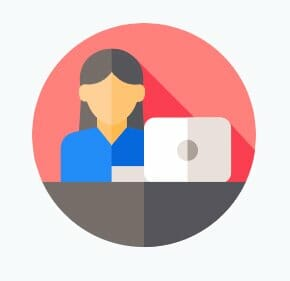 Image of an icon of a girl at a desk with a computer getting ready to do credit repair training
