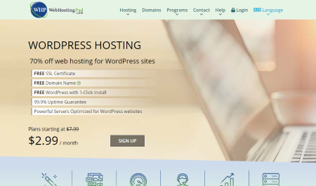 Image of the front page of the Webhosting Hub website
