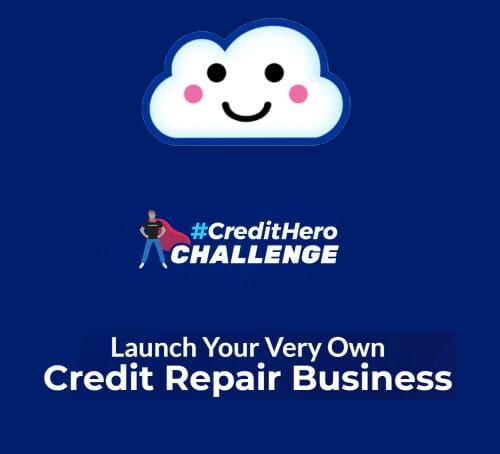 Image of the Credit Repair Cloud logo promoting the Credit Hero Challenge.