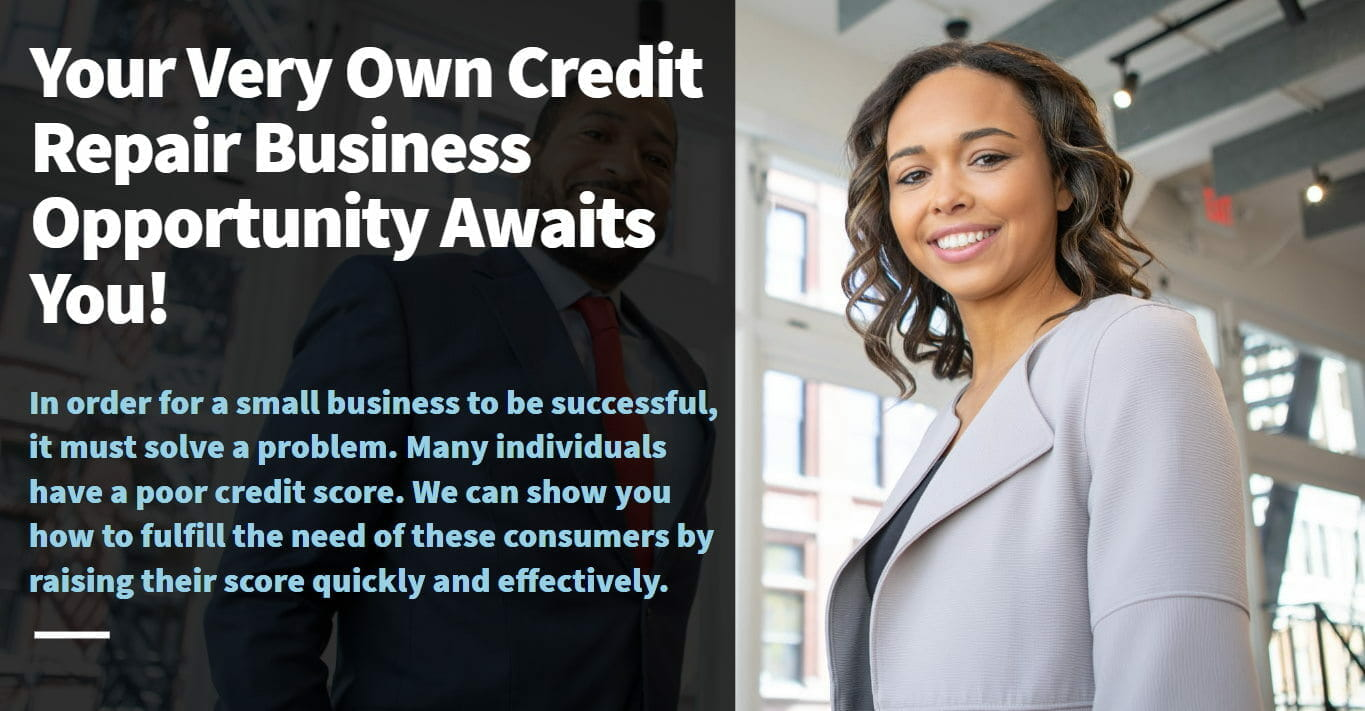 Image of a woman in office in a gray suit with a tagline that says your very own credit repair business opportunity awaits you!