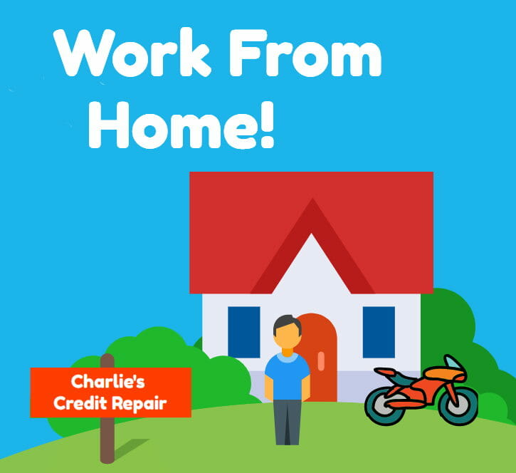 Image of a house with a motorcycle in front of it with a sign in the lawn that says Charlie's credit repair