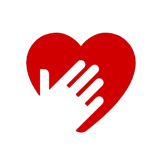 Image of a red heart icon with the white silhouette hand over the heart