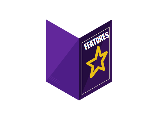 Image of a purple book with a Goldstar on it with the title that says Features