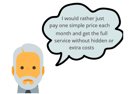 An image of a man stating that he would rather pay one simple price each month to Sky Blue Credit for credit repair