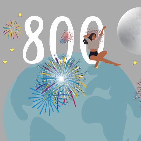 Image of the earth in the night sky with fireworks and an 800 FICO score