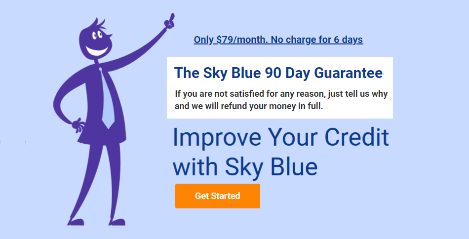 Image of the Sky Blue Credit logo showing their 90 day money back guarantee