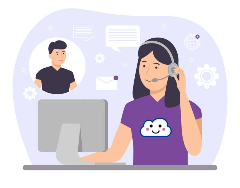 Vector image of a customer support representative on the phone with a client troubleshooting his credit repair software issues